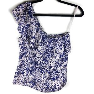 American Eagle One Shoulder Ruffle Floral Blouse